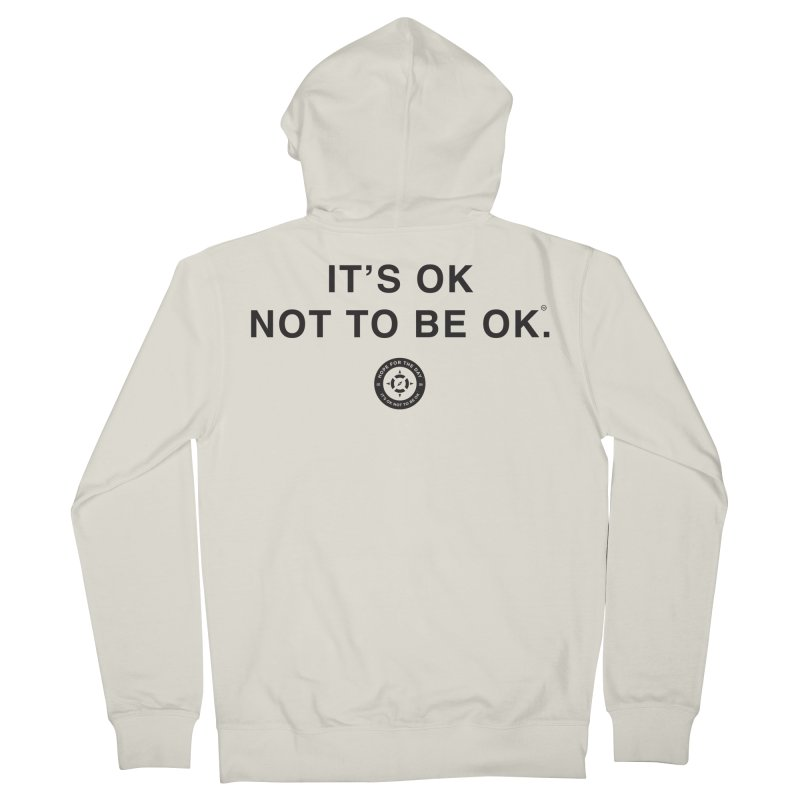 IT'S OK Black Lettering Women's French Terry Zip-Up Hoody by Hope for the Day Shop