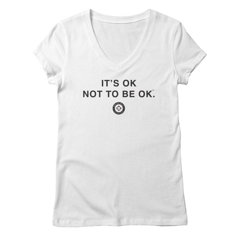 IT'S OK Black Lettering Women's Regular V-Neck by Hope for the Day Shop