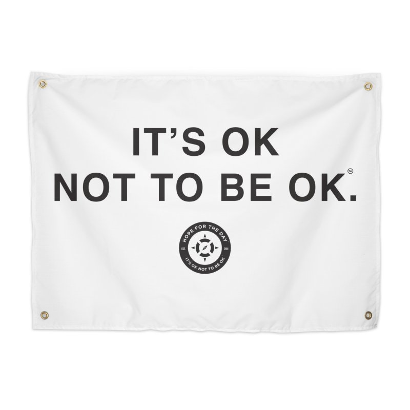 IT'S OK Black Lettering Home Tapestry by Hope for the Day Shop