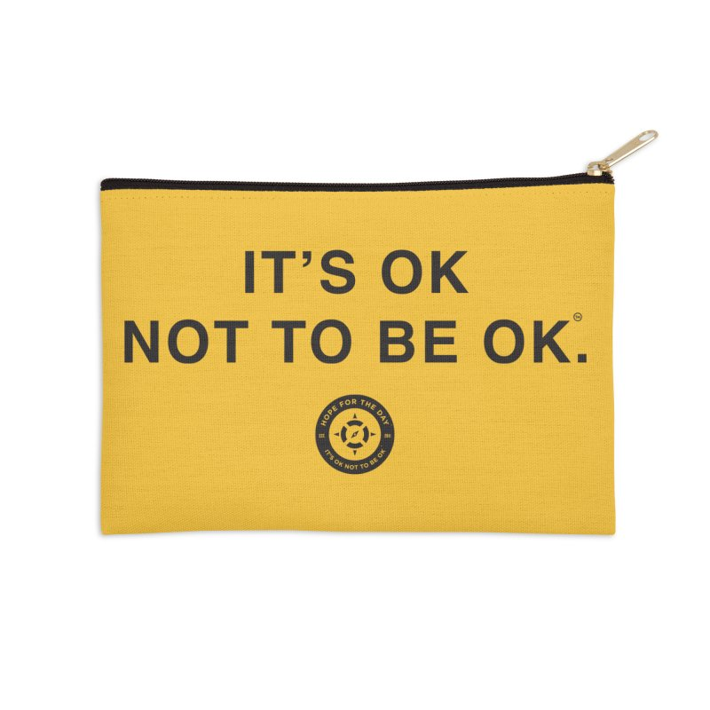 IT'S OK Black Lettering Accessories Zip Pouch by Hope for the Day Shop