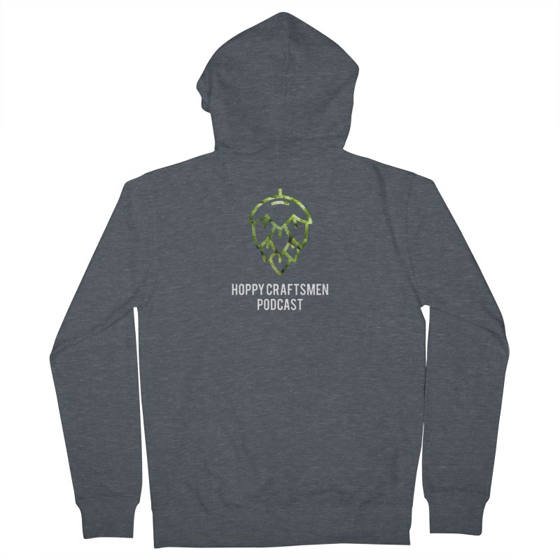 Hops on Hops White Version Men's French Terry Zip-Up Hoody by Hoppy Craftsmen's Swag Portal