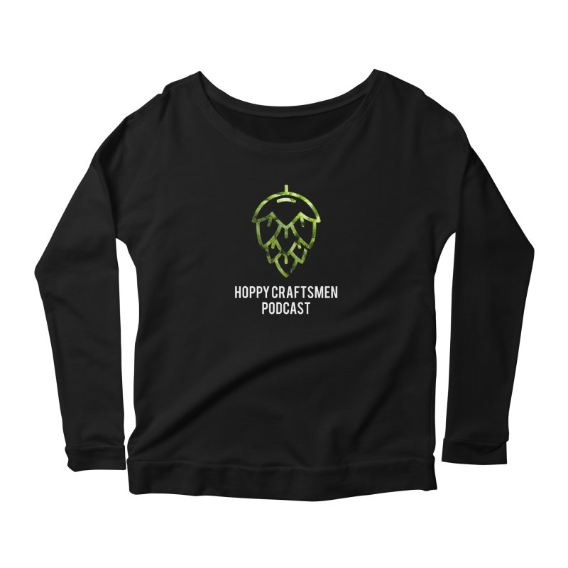 Hops on Hops White Version Women's Scoop Neck Longsleeve T-Shirt by Hoppy Craftsmen's Swag Portal