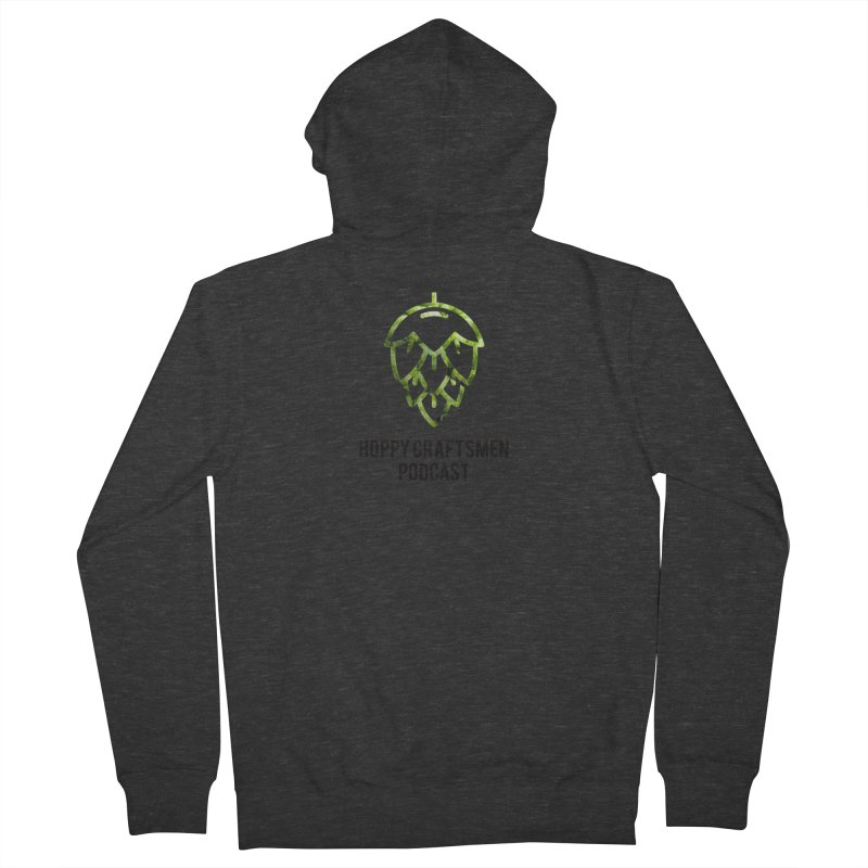 Hops on Hops Black Version Men's French Terry Zip-Up Hoody by Hoppy Craftsmen's Swag Portal