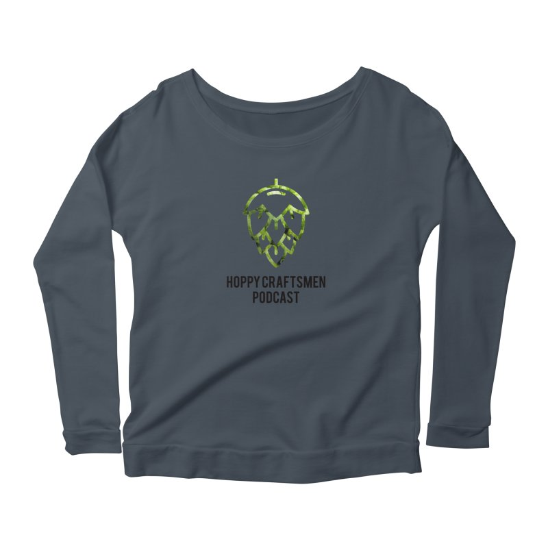 Hops on Hops Black Version Women's Scoop Neck Longsleeve T-Shirt by Hoppy Craftsmen's Swag Portal