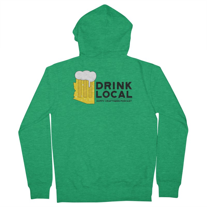 Drink Local IPA Span Women's French Terry Zip-Up Hoody by Hoppy Craftsmen's Swag Portal
