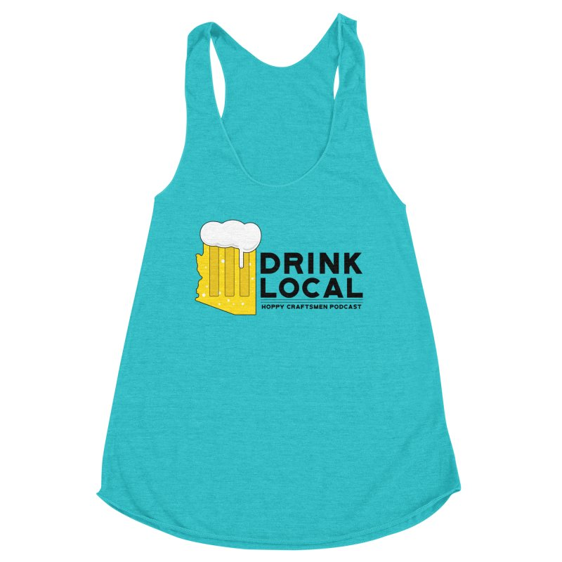 Drink Local IPA Span Women's Racerback Triblend Tank by Hoppy Craftsmen's Swag Portal