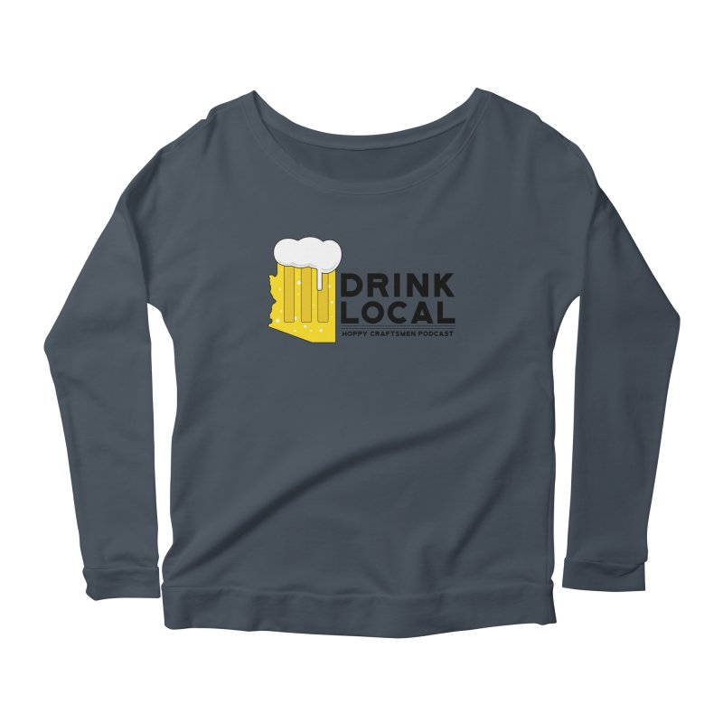 Drink Local IPA Span Women's Longsleeve Scoopneck  by Hoppy Craftsmen's Swag Portal