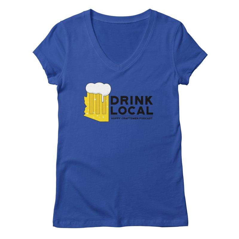 Drink Local IPA Span Women's Regular V-Neck by Hoppy Craftsmen's Swag Portal