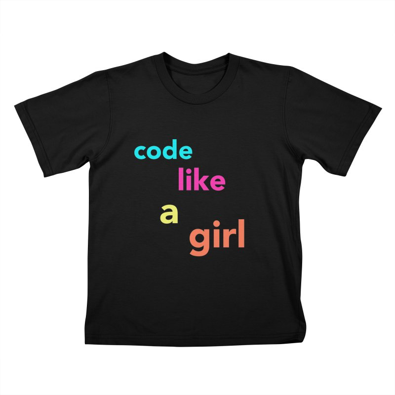 Code Like a Girl in Kids T-Shirt Black by Hopscotch Swag Center