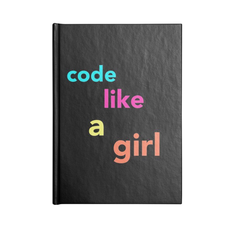 Code Like a Girl Accessories Lined Journal Notebook by Hopscotch Swag Center