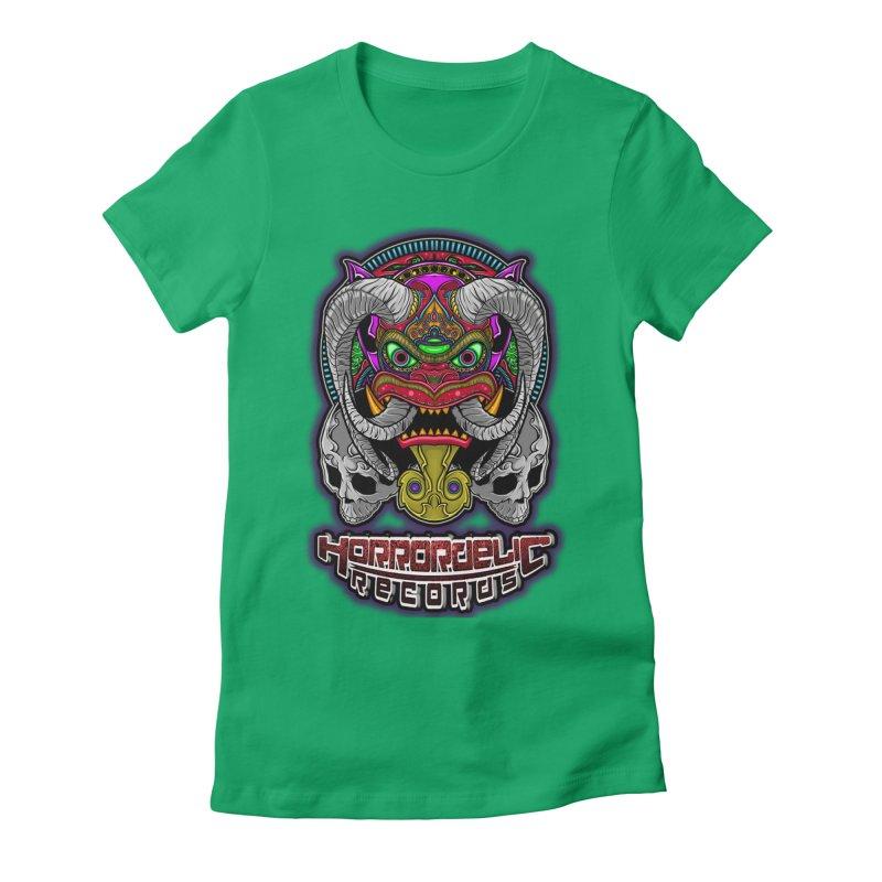 Horrordelic Classic Demon Women's Fitted T-Shirt by Horrordelic Darkpsy Merch