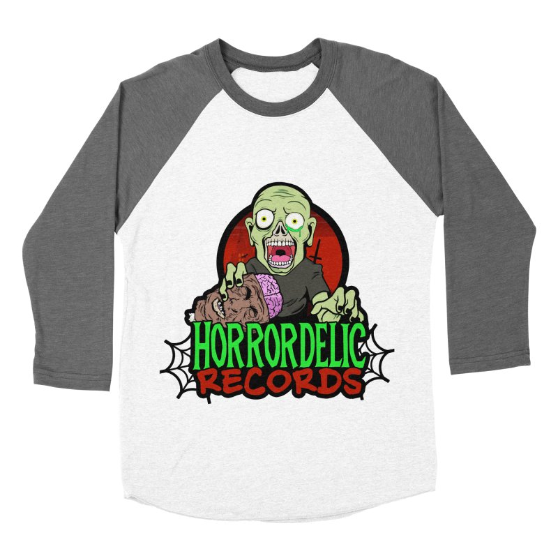 Horrordelic Brain Feasting Zombie Women's Baseball Triblend Longsleeve T-Shirt by Horrordelic Darkpsy Merch
