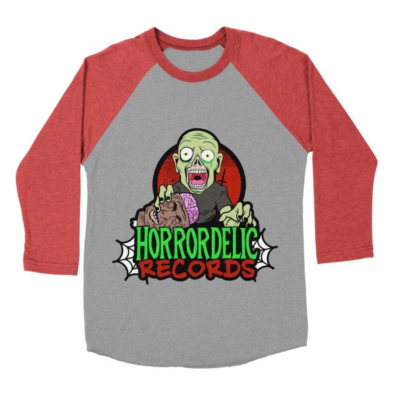 Horrordelic Brain Feasting Zombie Women's Baseball Triblend Longsleeve T-Shirt by Horrordelic Darkpsy Merch