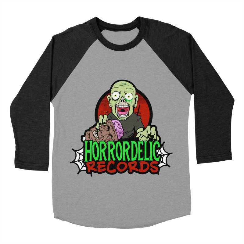 Horrordelic Brain Feasting Zombie Men's Baseball Triblend Longsleeve T-Shirt by Horrordelic Darkpsy Merch