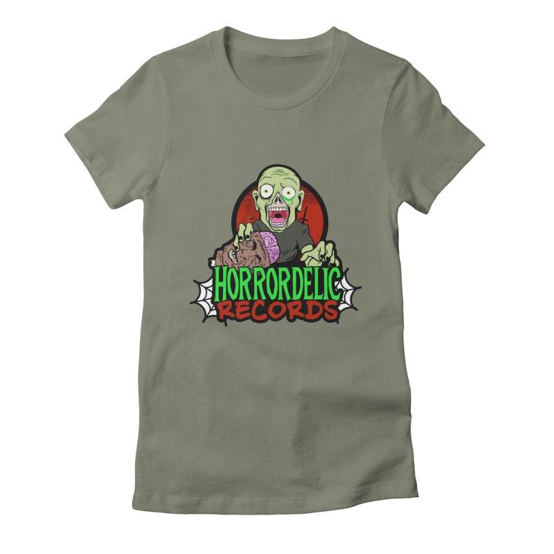 Horrordelic Brain Feasting Zombie Women's Fitted T-Shirt by Horrordelic Darkpsy Merch