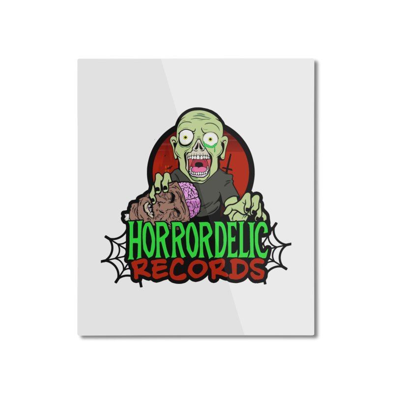 Horrordelic Brain Feasting Zombie Home Mounted Aluminum Print by Horrordelic Darkpsy Merch