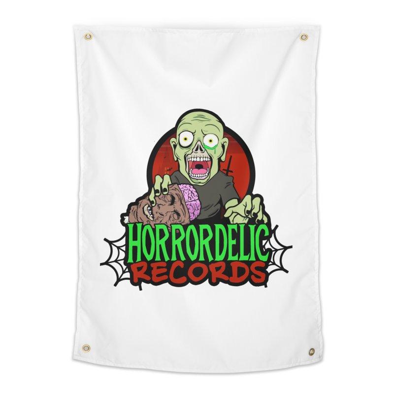 Horrordelic Brain Feasting Zombie Home Tapestry by Horrordelic Darkpsy Merch