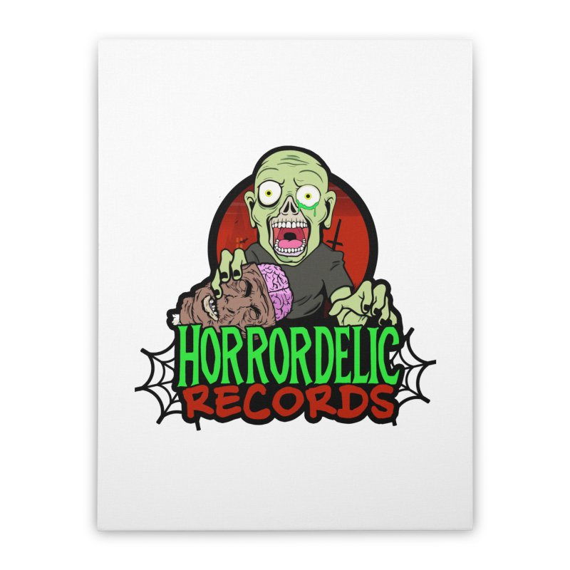 Horrordelic Brain Feasting Zombie Home Stretched Canvas by Horrordelic Darkpsy Merch