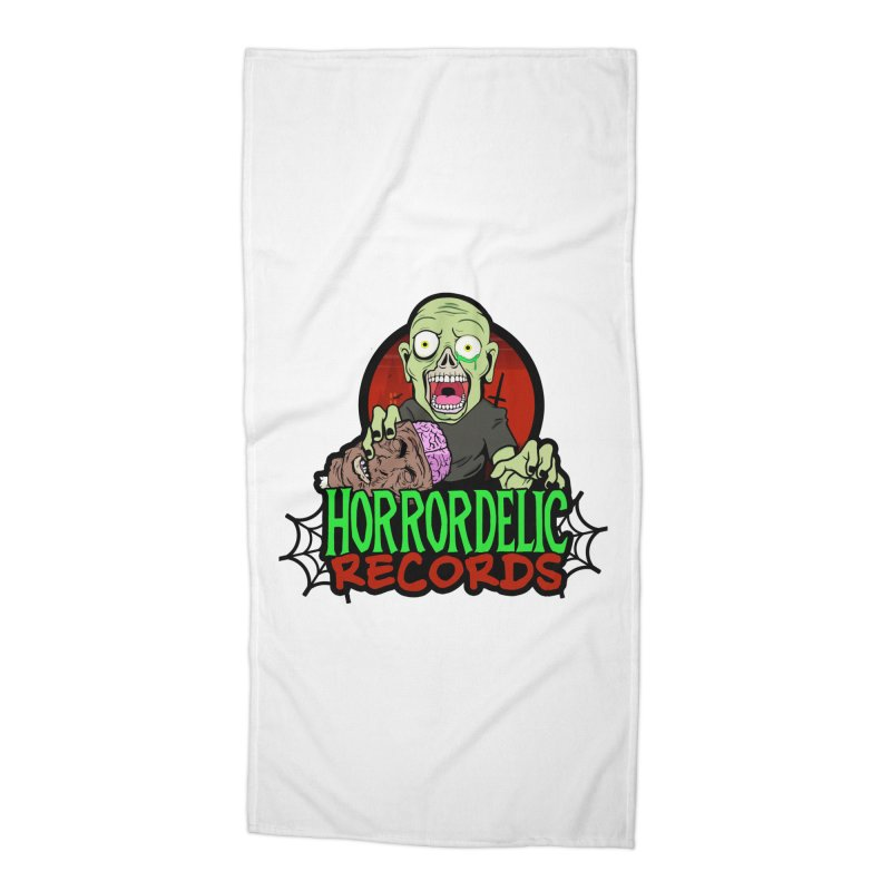 Horrordelic Brain Feasting Zombie Accessories Beach Towel by Horrordelic Darkpsy Merch