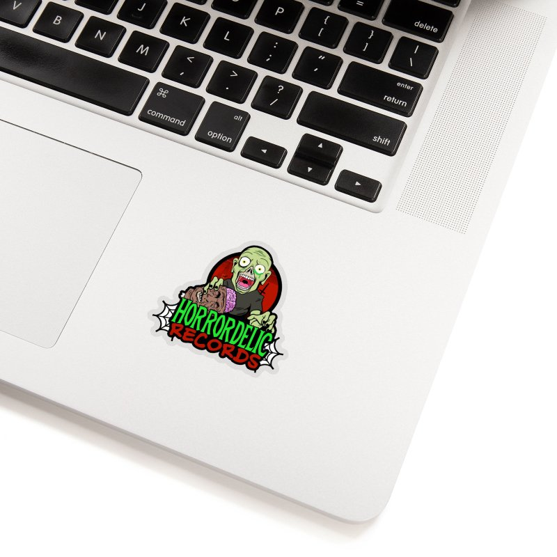 Horrordelic Brain Feasting Zombie Accessories Sticker by Horrordelic Darkpsy Merch