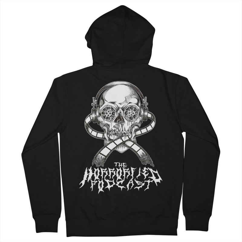 Reel Skull (Black Metal Variant) Women's French Terry Zip-Up Hoody by The Horrorfied Storecast