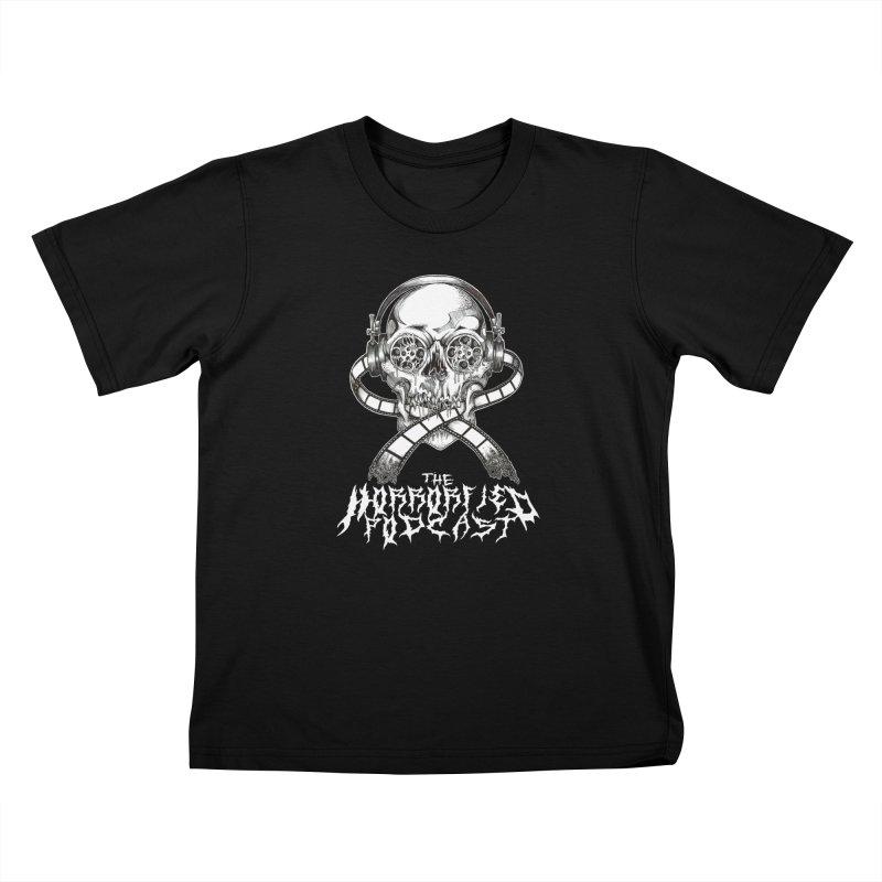 Reel Skull (Black Metal Variant) Kids T-Shirt by The Horrorfied Storecast