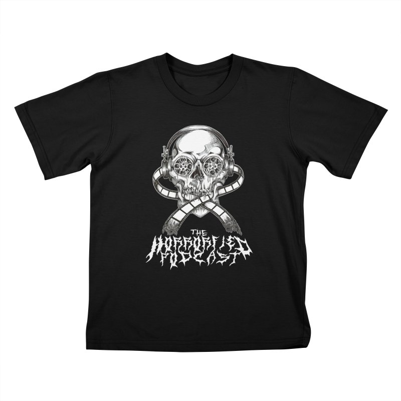 Reel Skull (Black Metal Variant) Kids T-Shirt by The Horrorfied Storecast