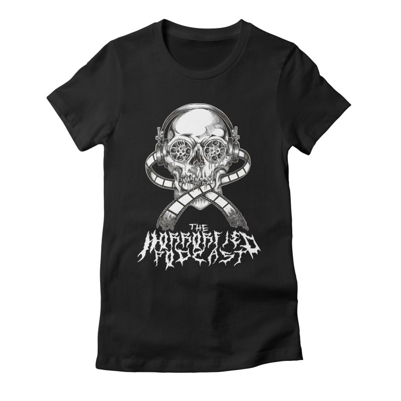 Reel Skull (Black Metal Variant) Women's Fitted T-Shirt by The Horrorfied Storecast