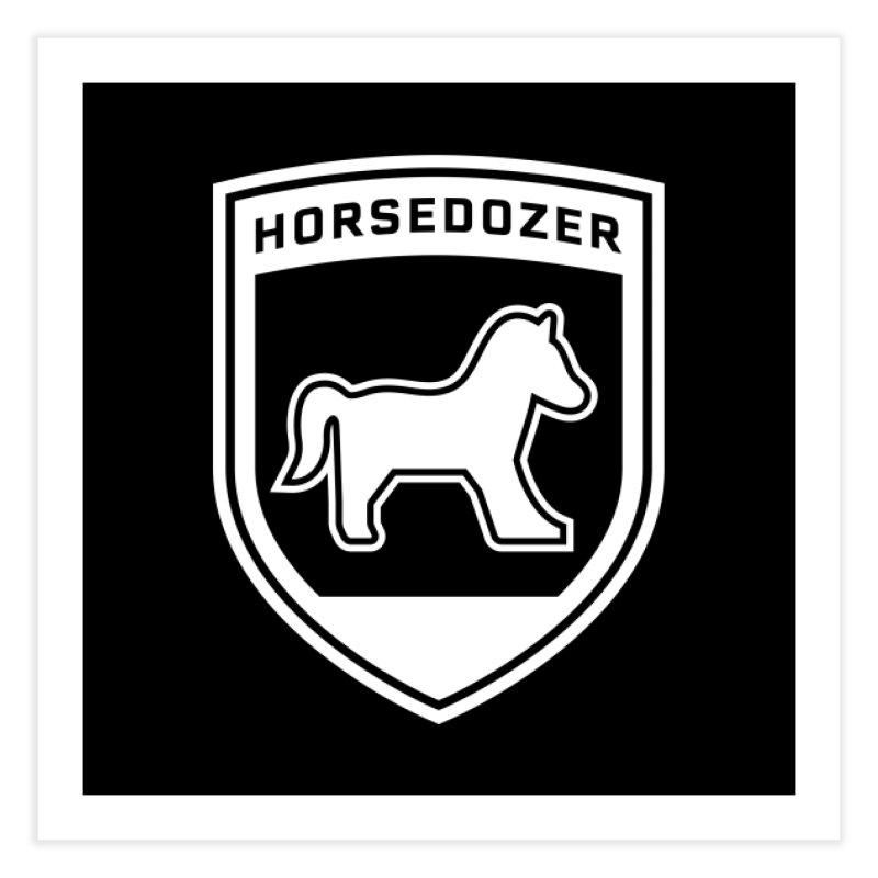 HORSEDOZER SHIELD (WHITE) Home Fine Art Print by HORSEDOZER