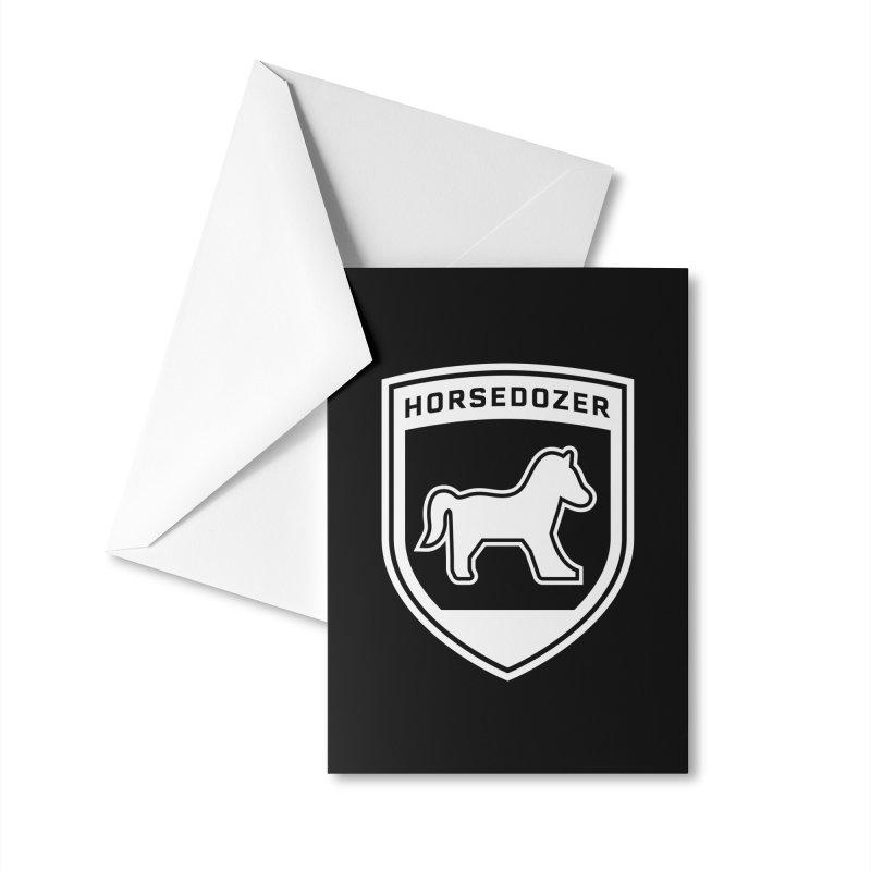 HORSEDOZER SHIELD (WHITE) Accessories Greeting Card by HORSEDOZER