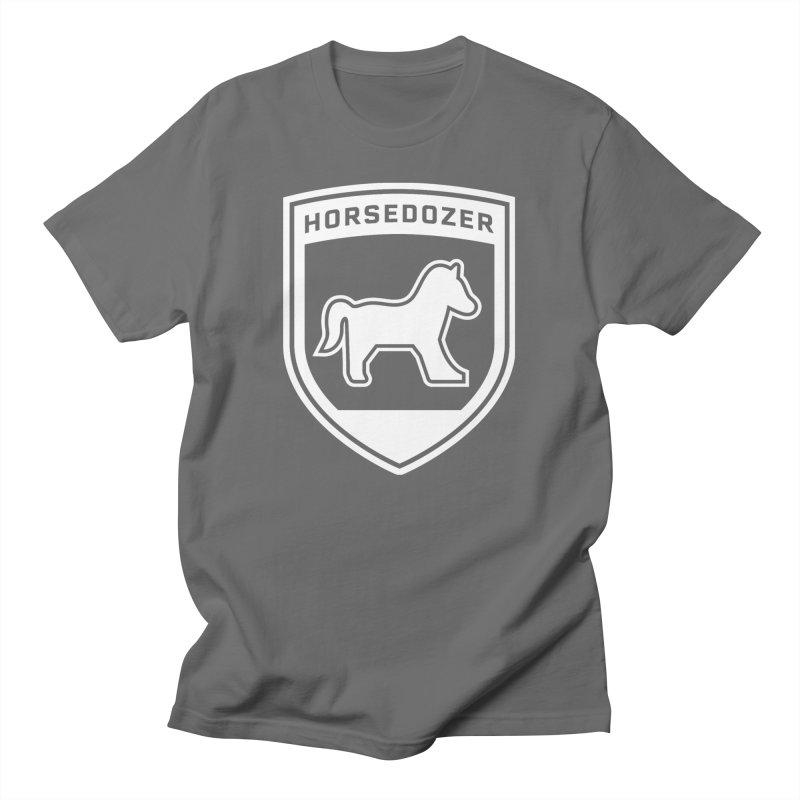 HORSEDOZER SHIELD (WHITE) Men's T-Shirt by HORSEDOZER