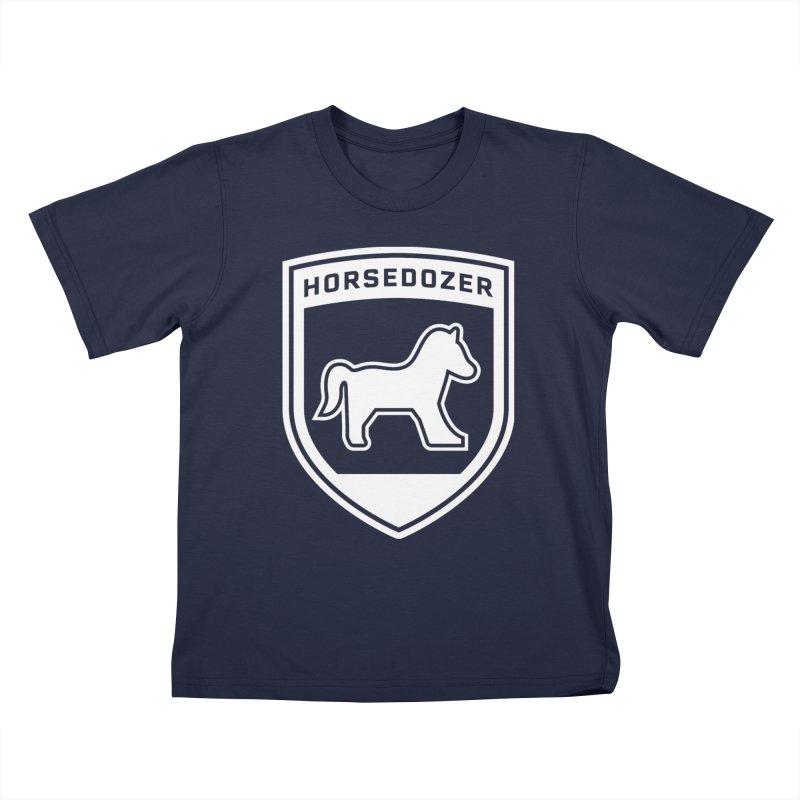 HORSEDOZER SHIELD (WHITE) Kids T-Shirt by HORSEDOZER
