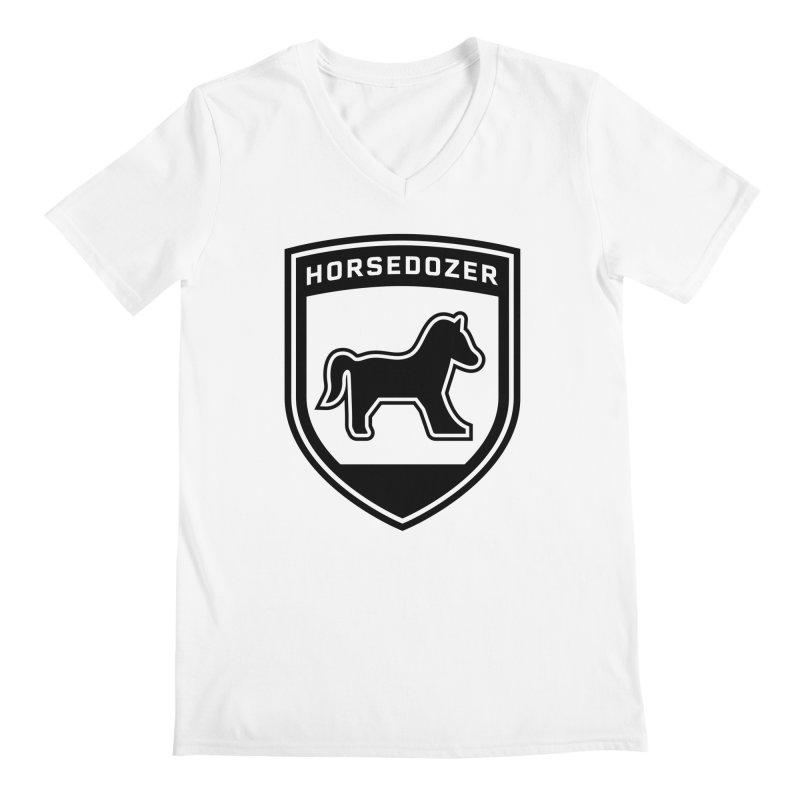 HORSEDOZER SHIELD (BLACK) Men's V-Neck by HORSEDOZER