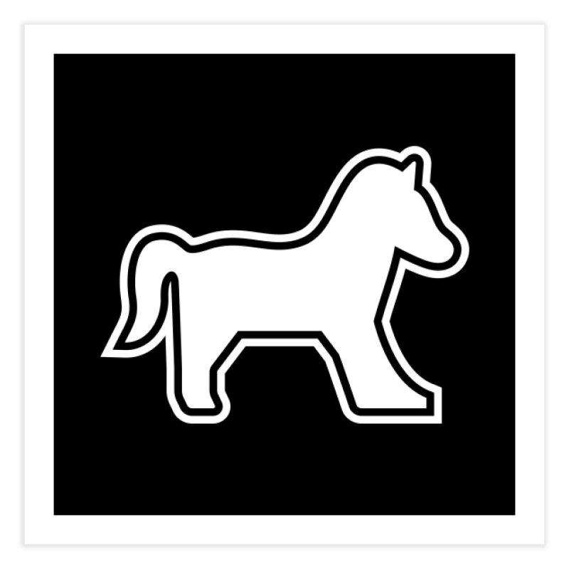 HORSEDOZER ICON (WHITE) Home Fine Art Print by HORSEDOZER