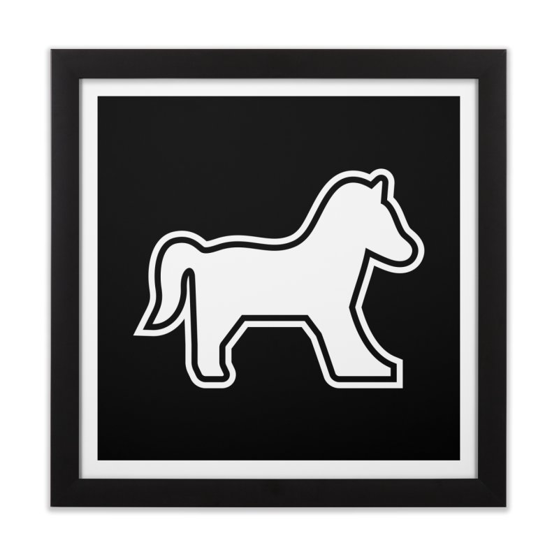 HORSEDOZER ICON (WHITE) Home Framed Fine Art Print by HORSEDOZER