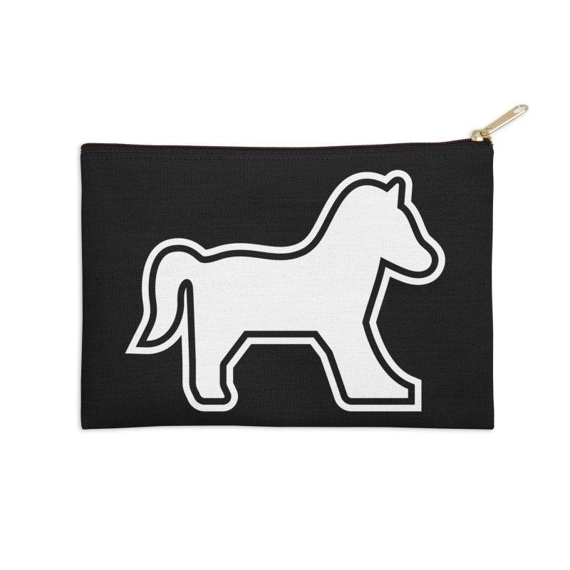 HORSEDOZER ICON (WHITE) Accessories Zip Pouch by HORSEDOZER