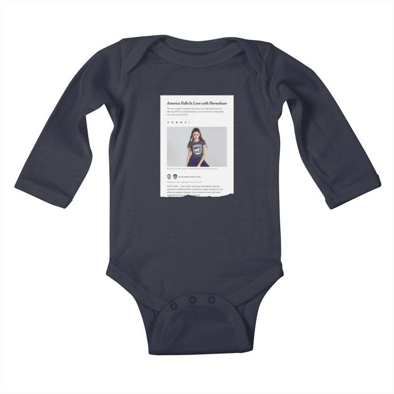 HORSEDOZER NEWS Kids Baby Longsleeve Bodysuit by HORSEDOZER