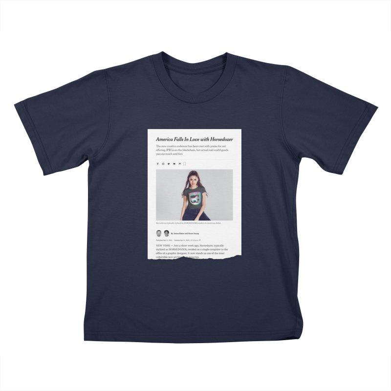 HORSEDOZER NEWS Kids T-Shirt by HORSEDOZER