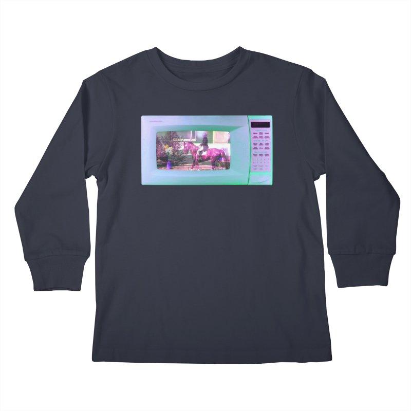 HORSEDOZER MICROWAVE Kids Longsleeve T-Shirt by HORSEDOZER