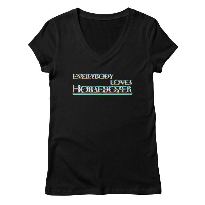 EVERYBODY LOVES HORSEDOZER Women's V-Neck by HORSEDOZER