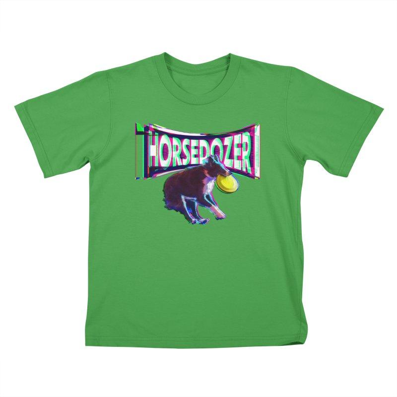 HORSEDOZER FRIZBEEWAVE Kids T-Shirt by HORSEDOZER