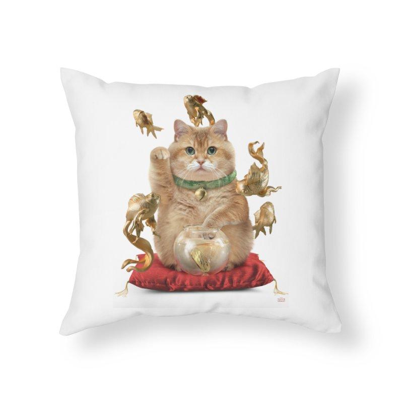 Hosico Maneki-neko Home Throw Pillow by Hosico's Shop