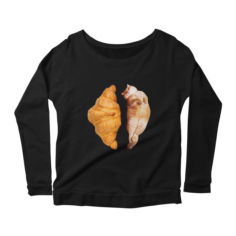 Croissant Women's Scoop Neck Longsleeve T-Shirt by Hosico's Shop
