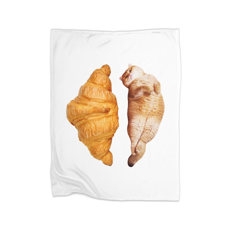 Croissant Home Fleece Blanket Blanket by Hosico's Shop