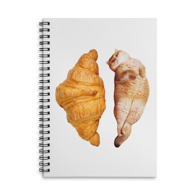 Croissant Accessories Lined Spiral Notebook by Hosico's Shop