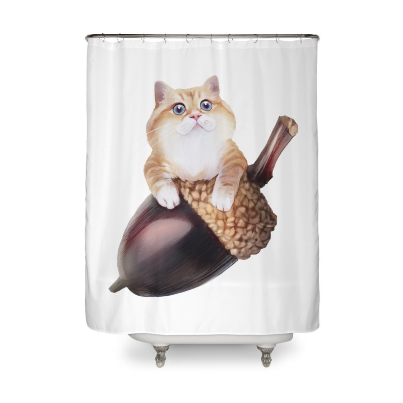 Hosico and acorn Home Shower Curtain by Hosico's Shop