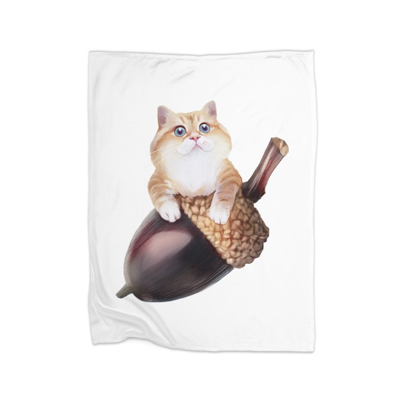 Hosico and acorn Home Fleece Blanket Blanket by Hosico's Shop
