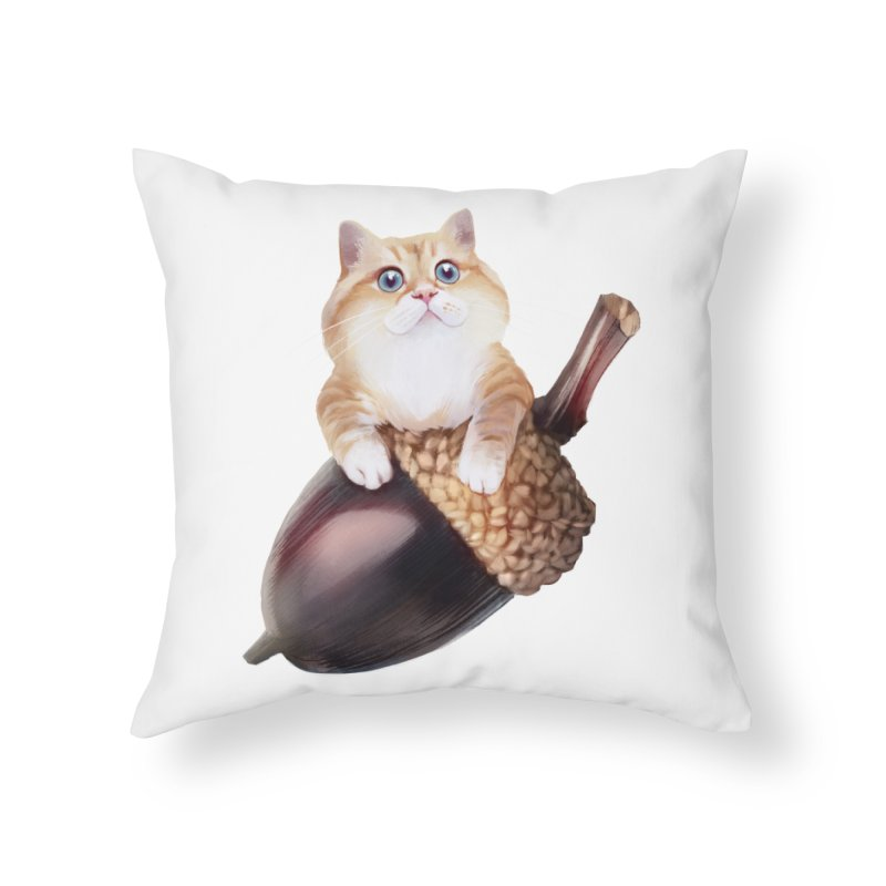 Hosico and acorn Home Throw Pillow by Hosico's Shop