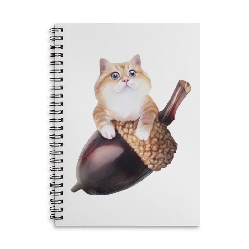 Hosico and acorn Accessories Lined Spiral Notebook by Hosico's Shop