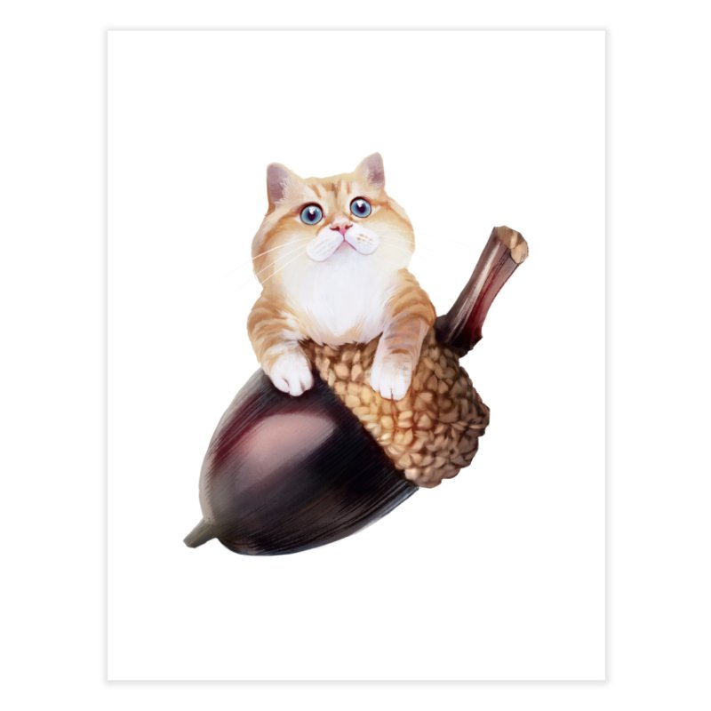 Hosico and acorn Home Fine Art Print by Hosico's Shop